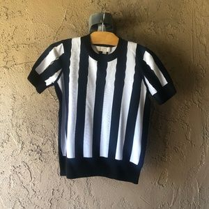 MICHAEL Michael Kors Short Sleeve Striped Sweater